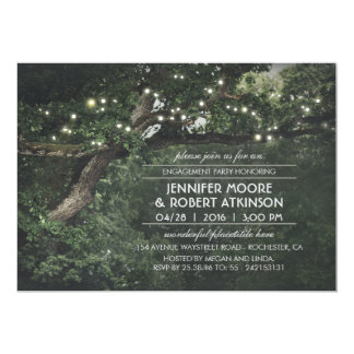Rustic Tree String Lights Forest Engagement Party Card