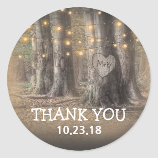Rustic Tree & String Lights Thank You Round Sticker