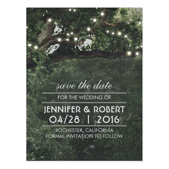 Rustic Tree String Lights Vintage Save the Date