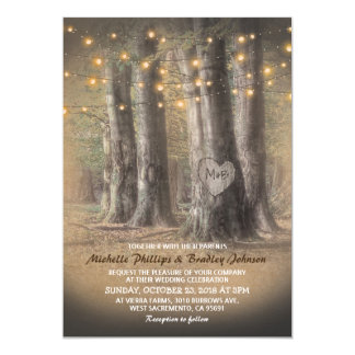 Rustic Tree & String Lights Wedding Card