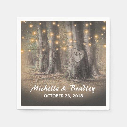 Rustic Tree & String Lights Wedding Disposable Napkin