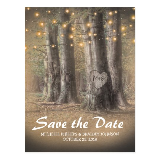 Rustic Tree & String Lights Wedding Save the
