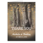 Rustic Tree & String Lights Wedding Thank You Card