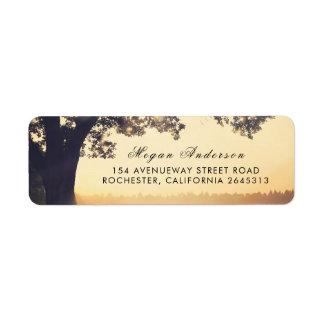 Rustic Tree Summer Wedding Return Address Label
