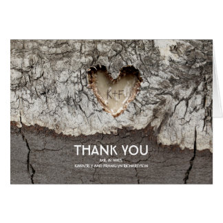 Rustic Tree Wood Heart Wedding Thank You Card