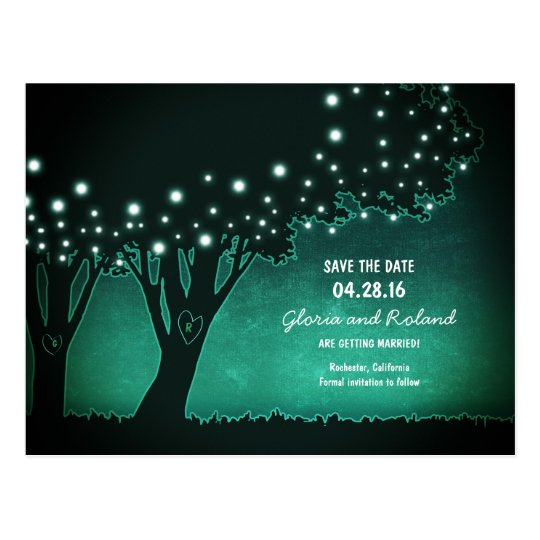 rustic trees carved hearts save the date postcard