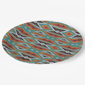 Rustic Tribe Mosaic Native American Indian Pattern Paper Plate