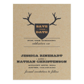 Rustic Trophy Gray Save the Date Postcard
