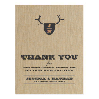 Rustic Trophy Gray Thank You Card Postcard