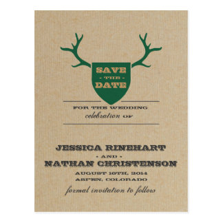 Rustic Trophy Green Save the Date Postcard