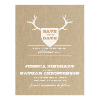 Rustic Trophy White Save the Date Postcard