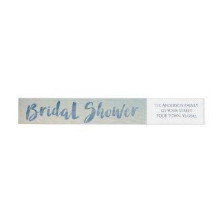Rustic Tropical Beach Bridal Shower Wrap Around Label