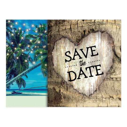 Rustic Tropical Beach Destination Save the Date Postcard
