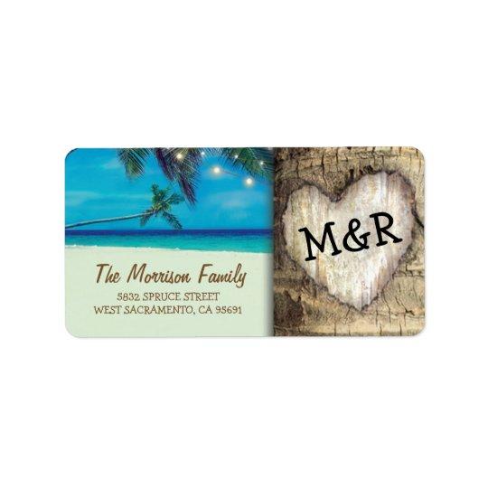 Rustic Tropical Beach Destination Wedding Address Label