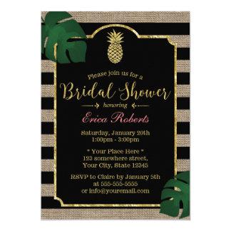 Rustic Tropical Pineapple Burlap Bridal Shower 13 Cm X 18 Cm Invitation Card