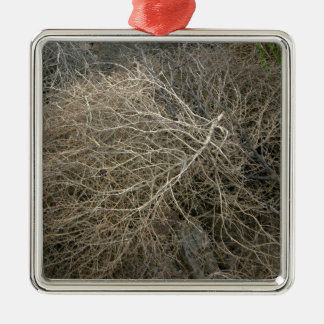 Rustic Tumbleweed Silver-Colored Square Decoration