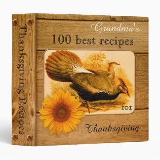 Rustic Turkey Sunflower Thanksgiving Recipe Binder