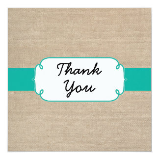 Rustic Turquoise and Beige Burlap Thank You Card 13 Cm X 13 Cm Square Invitation Card