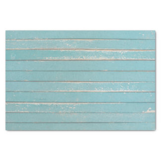 Rustic Turquoise Blue Wood Bohemian Barn Boards Tissue Paper