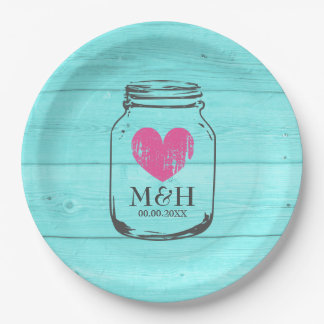 Rustic turquoise mason jar wedding party plates 9 inch paper plate