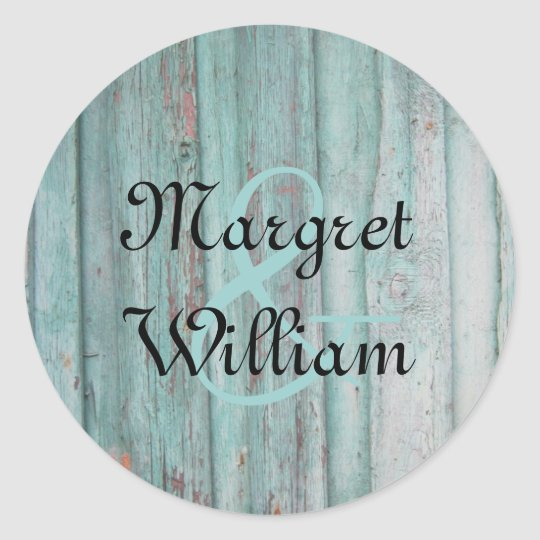 Rustic Turquoise Painted Wood Envelope Seal
