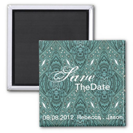 rustic turquoise western wedding save the date refrigerator magnets