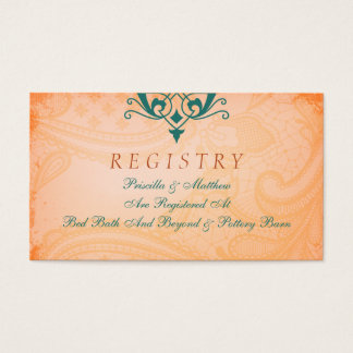 Rustic, Tuscan Teal Wedding Registry Card