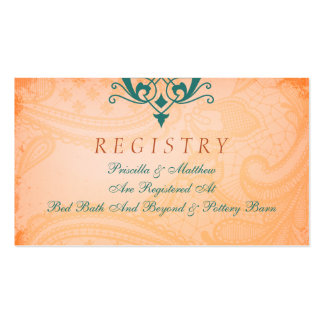 Rustic, Tuscan Teal Wedding Registry Card Pack Of Standard Business Cards