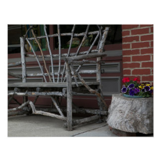 Rustic Twig Bench & Flowers Poster