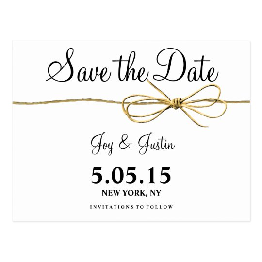 Rustic Twine Bow Save the Date Postcards