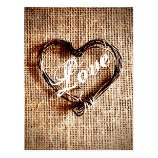 Rustic Twine Heart Burlap Print LOVE Postcard