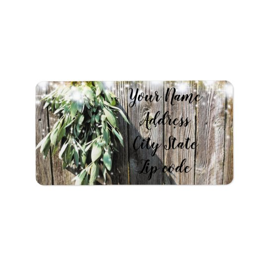 Rustic twinkle light sage label