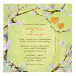 Rustic Two Hearts Lime Green Floral Wedding Invite