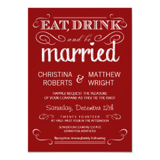 Rustic Typography Crimson Red Wedding Invitations