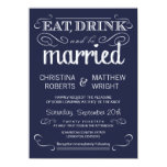 Rustic Typography Navy Blue Wedding Invitations