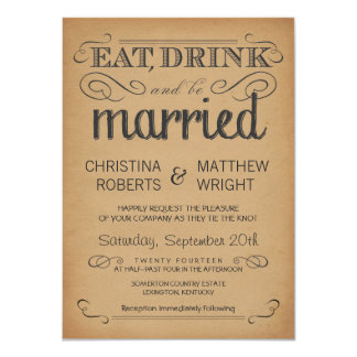 Rustic Typography Old Parchment Wedding Invitation