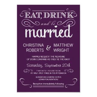"Rustic Typography Plum Purple Wedding Invitations 4.5"" X 6.25"" Invitation Card"