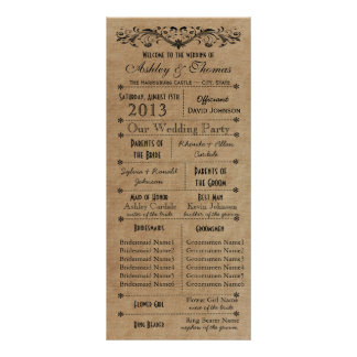 Rustic Typography Wedding Programs 6 Bridesmaids Custom Rack Cards