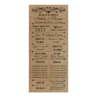 Rustic Typography Wedding Programs 6 Bridesmaids Custom Rack Cards