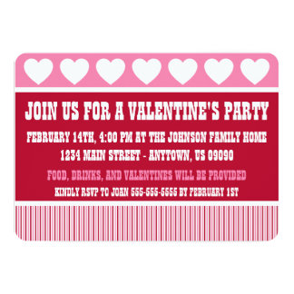 Rustic Valentine's Day Party Invitation (Dark Red)