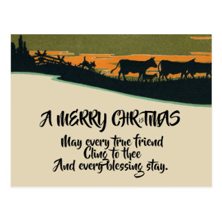 Rustic Victorian Western Bull Ranch Christmas Postcard