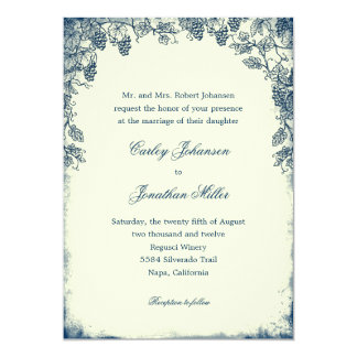 Rustic Vineyard Wedding Invitation - Navy