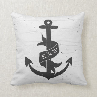 Rustic Vintage Anchor Monogram Pillow