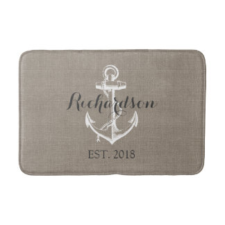Rustic Vintage Anchor Wedding Monogram Bath Mat