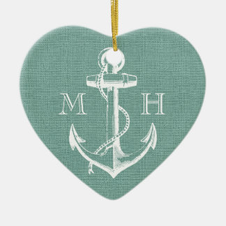 Rustic Vintage Anchor Wedding Monogram Christmas Ornament