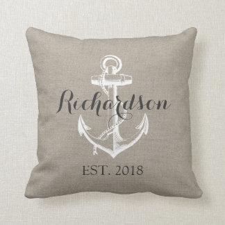 Rustic Vintage Anchor Wedding Monogram Cushion