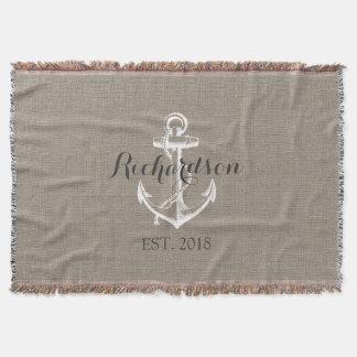 Rustic Vintage Anchor Wedding Monogram Throw Blanket