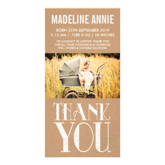 Rustic Vintage Baby Birth Thank You Photo Card