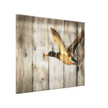 Rustic vintage barnwood country ducks woodgrain gallery wrapped canvas