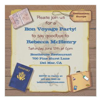 "Rustic Vintage Bon Voyage Party Invitation 5.25"" Square Invitation Card"